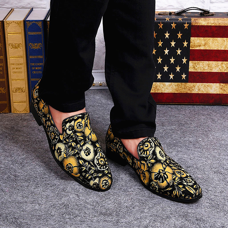 Relatively Handmade Top Quality Gold Men Casual Shoe Platform Loafers Mixed  NL05