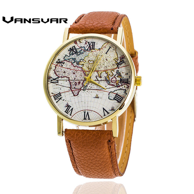 Vansvar  Fashion Women Leather World Map Watches Mapa Relojes Mujer Ladies Quartz Wristwatch Relogio Feminino Gift 1548 miler vintage fashion watch women retro leather strap world map casual quartz wristwatch ladies creative clock relogio feminino