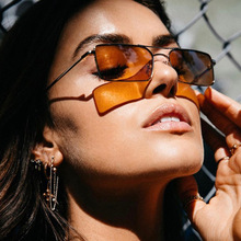 Metal Small Rectangle Sunglasses Women 2018 Fashion Shades Female Brand Oculos Feminino Brown Lens Sun Glasses For