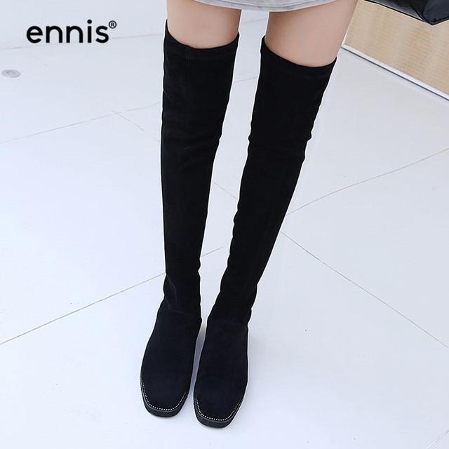 60d440d0aaa ENNIS 2018 Ladies Flat Knee High Boots Platform Thigh High Stretch Boots  Women Long Boots Rivet Autumn Winter Flock Shoes L845