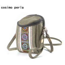 Bohemia Embroidery Floral Canvas Shoulder Crossbody Bags for Women Cell Phone Pocket Summer Beach Travel Ethnic Mini Bucket Bag недорого