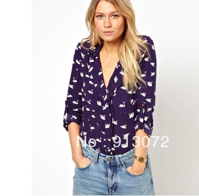 06caa48dae71ba ST708 New Fashion womens' blue cute swan animal print blouse shirt long  sleeve Turn-down collar shirt casual slim tops