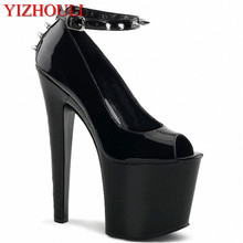 17cm high documentary shoes Black shoes during sexy supermodels High nightclub shoes with temptation