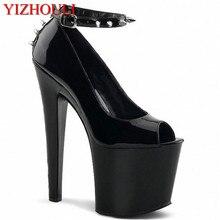 17cm 높은 다큐멘터리 신발 유혹 섹시한 슈퍼 모델 높은 나이트 클럽 신발 동안 검은 신발