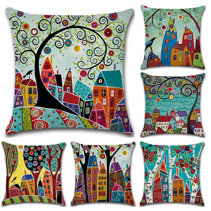 Hand-Painted Retro Rural Color Cities 45*45cm Cushion Cover Linen Throw Pillow Car Home Decoration Decorative Pillowcase(China)