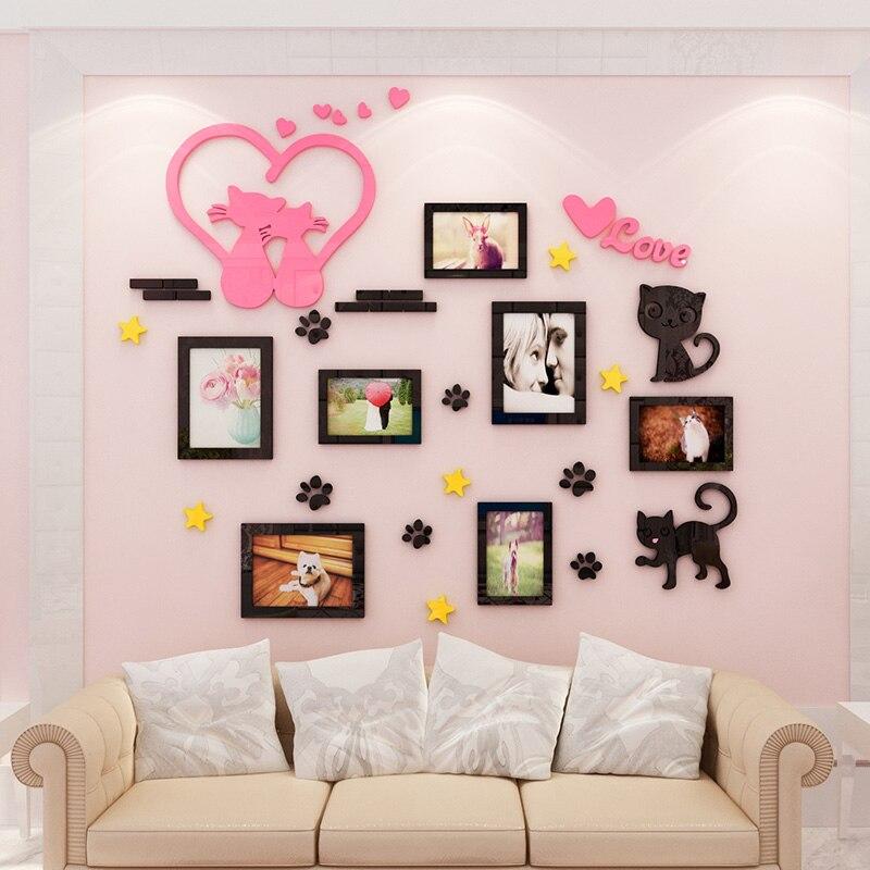 Romantique chat cadre photo acrylique TV toile de fond creative personnalité 3D autocollants chambre chevet fond mur surface décoration