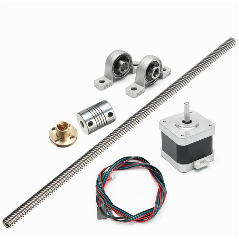 Aluminium 8mm Lead Screw Rod 500mm 4 Start Z Axis Linear Rail Bar Shaft For 3D