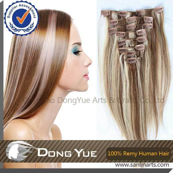 Cheap real Natural Clips in highlight blonde human hair extensions 8PCS PER  SET factory sale Great length b4eb786bf