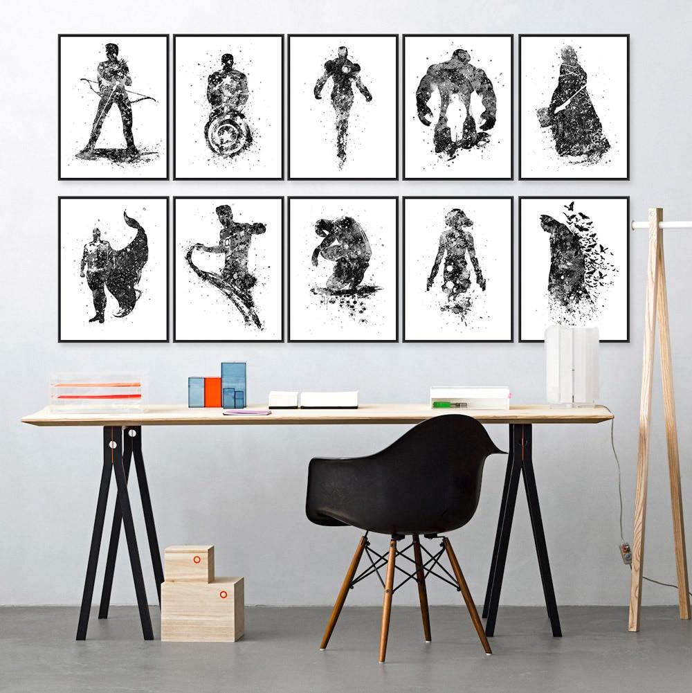 Modern Fashion Black White Superhero Avenger Batman Movie Art Print Poster Wall Picture Canvas Painting Kids Room Home Deco