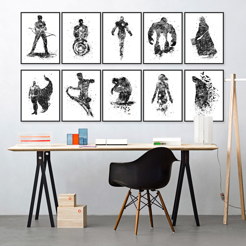 Modern Fashion Black White Superhero Avenger Batman Movie Art Print Poster Wall Picture Canvas Painting Kids Room Home Deco