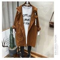 Casual Khaki Cotton Zipper Long Windbreaker Hooded Coat Women Jacket W009