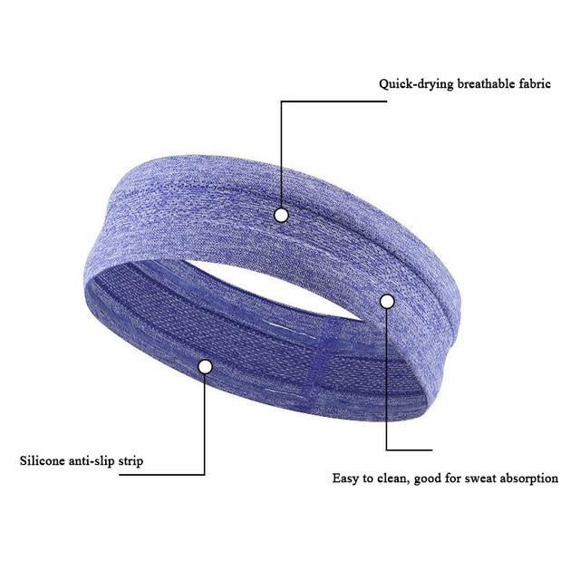 Unisex Yoga Sweatband Silicone Antiskid Sweat Headband Men Sports Headscarf Women Jogging Hair Belt Headsize Fits 50-62cm N311 5