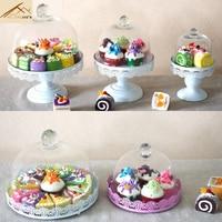 Europe Wedding Glass Cake Food Cover Tools Metal Lace Cake Plate Holder Fruit Dessert Preservation Tableware