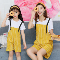 2018 2pcs Mum Mommy and Baby Mother Daughter Dress Clothes Family Matching Outfits for Girls Shirt+overalls Pants 100% Cotton