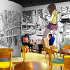 Free Shipping Character Theme Black And White Line Graffiti Wallpaper Large Wall Paintings European Style Fashion