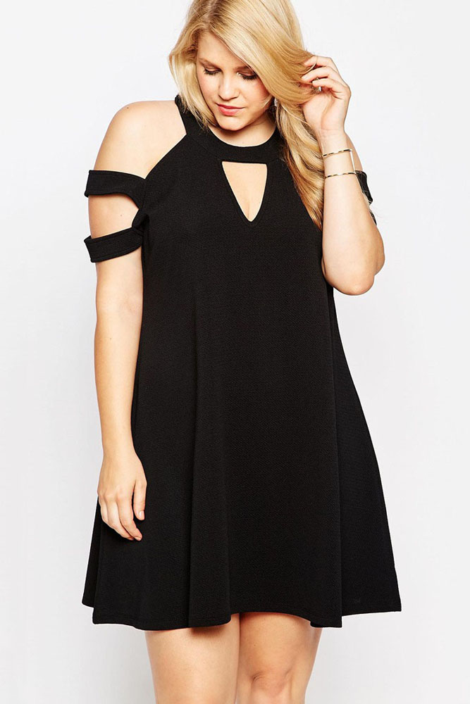 2018 New Women Black Plus Size Swing Dress With Cut Out Cold