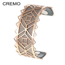 Cremo DIY Arm Cuff Inca Bracelets Manchette Femme Large Stainless Steel Bangles For Women Bijoux Reversible Leather Pulseira(China)