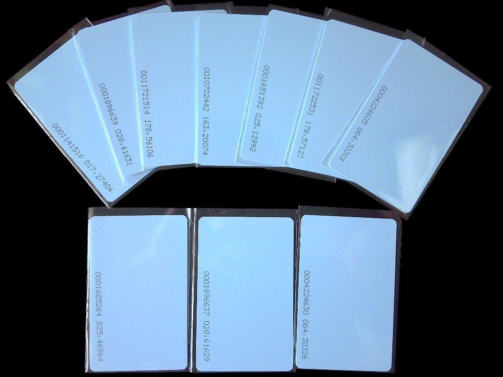 Free Shipping 50pcs/Lot 125KHz EM4100 Cards TK4100 RFID Card Proximity Smart Card PVC Card For Access Control Time Attendance