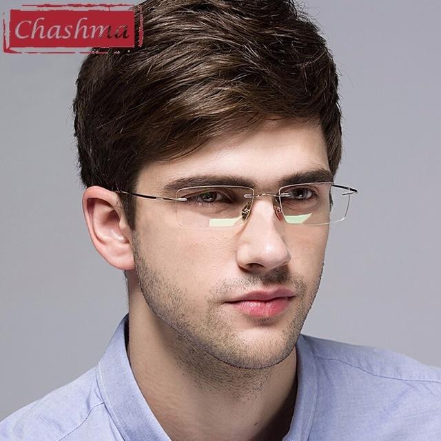 46a7cf7bfeac4 Chashma Eyewear armacao para oculos de grau Frameless Titanium Eye Glasses  Frame Optical Glasses Frames for Women and Men