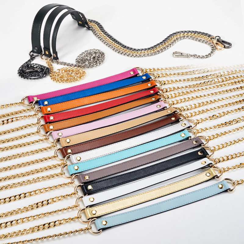 110cm*1.9cm Genuine Leather + Long Gold Chain Thin Shoulder Strap Women Shoulder Messeng ...