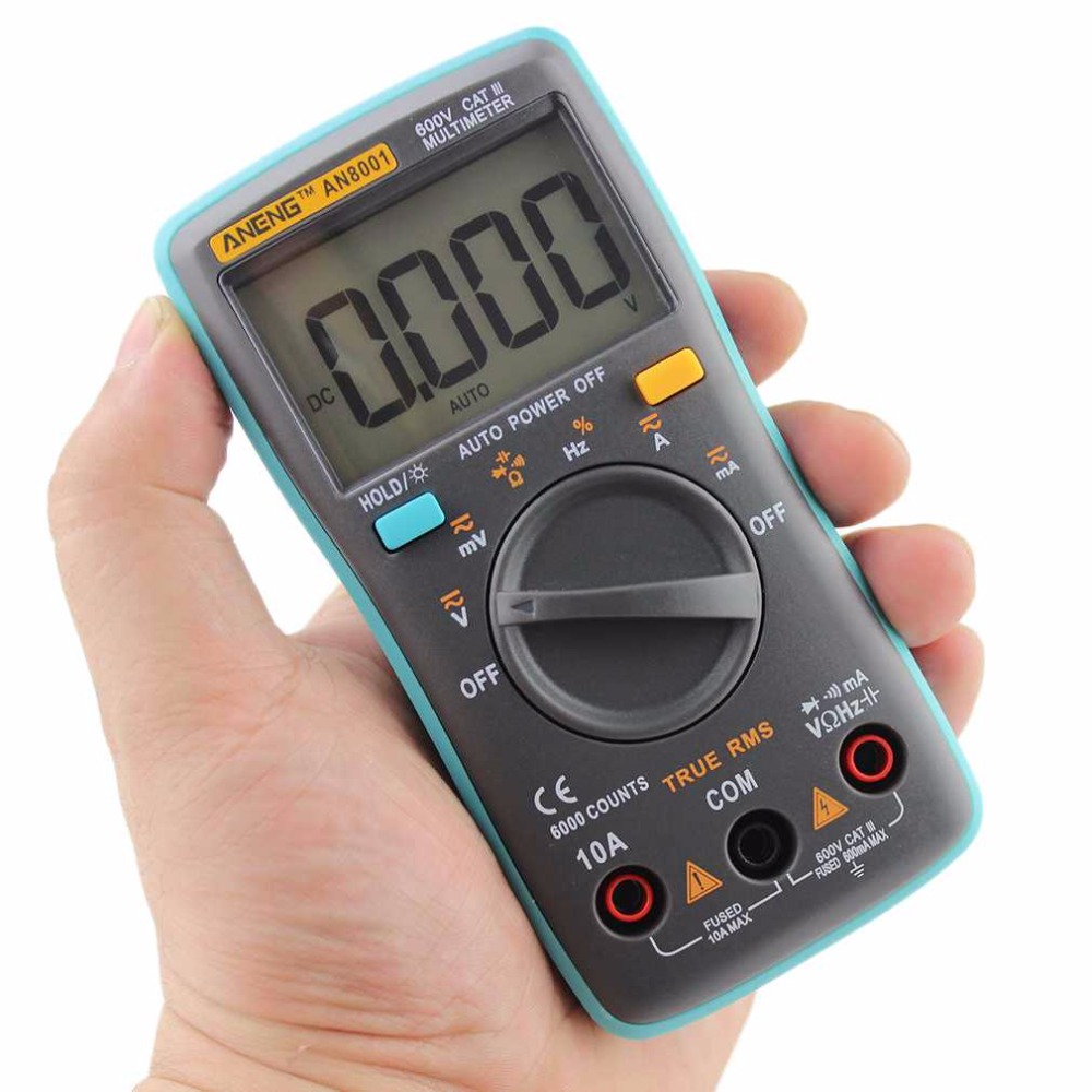 AN8001 Digital Multimeter 6000 counts Backlight AC/DC Ammeter Voltmeter Ohm Professional voltage meter Blue Dropshipping 2017 professional and practical an8001 digital multimeter 6000 counts backlight ac dc ammeter voltmeter ohm portable meter