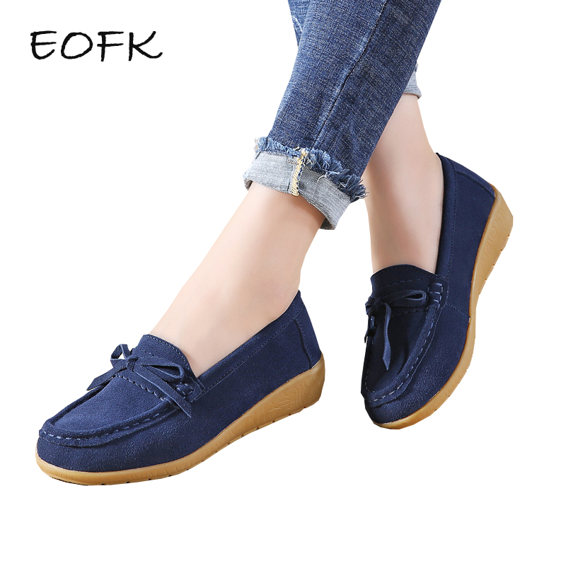 EOFK Women Ballet Flats Women's Flat Shoes Casual Cow   Suede     Leather   Loafers Shoes Woman Butter-fly Slip On Solid Ladies Shoes