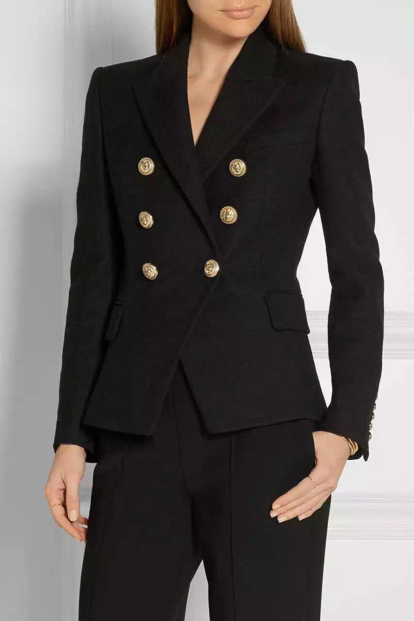 VogaIn 2016 Autumn Winter Women Elegant OL New Luxury Design Gold Buckles Double Breasted Open lapels Slim Blazer With Pockets