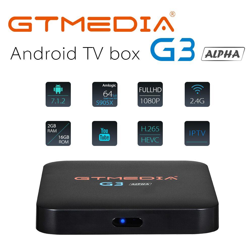 GTMEDIA G3 +3M IPTV FREE Alpha 2+16G Android 7.1 Smart TV Box Amlogic S905X Quad Core 2.4GHz WiFi Bluetooth 4.0 STB Media PlayerGTMEDIA G3 +3M IPTV FREE Alpha 2+16G Android 7.1 Smart TV Box Amlogic S905X Quad Core 2.4GHz WiFi Bluetooth 4.0 STB Media Player