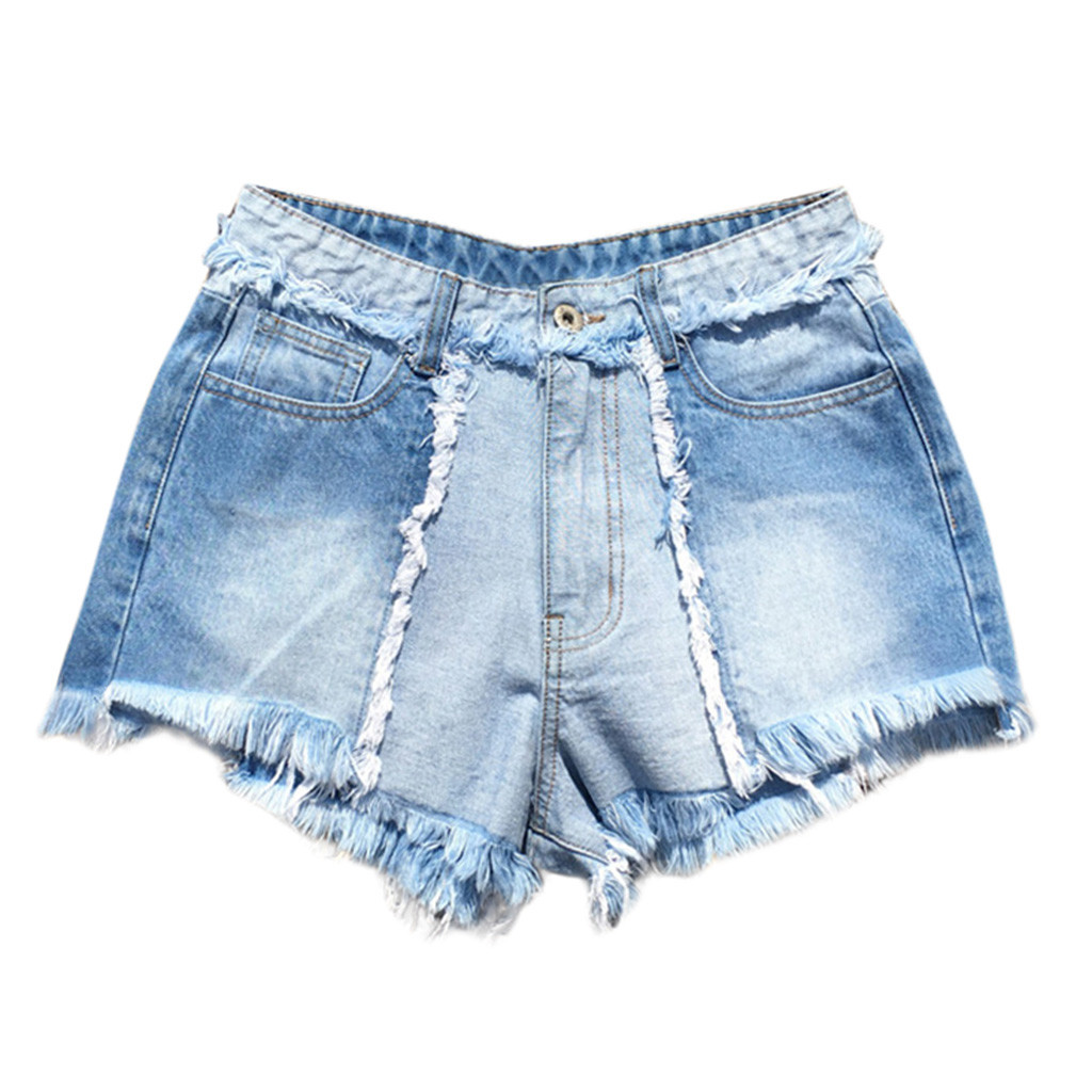 FREE OSTRICH Women Fashion Summer Comfy Hole Denim Shorts High Waist Side Split Ripped Short Women Shorts 2020 New Arrivals