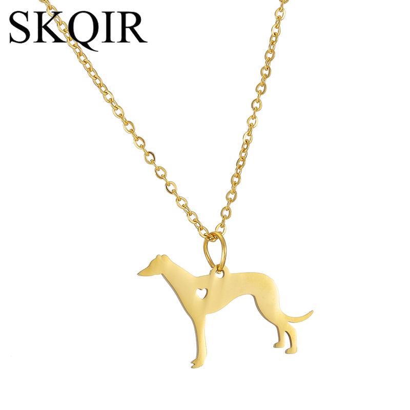 SKQIR Statement Necklace Engrave Greyhound Pet Charm Stainless Steel Chain Cute Dog Animal Jewelry Necklaces For Women Girls