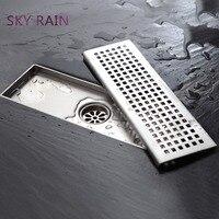SKY RAIN Latest Design Durable Bathroom Shower Rectangular 304 Stainless Steel Floor Drain