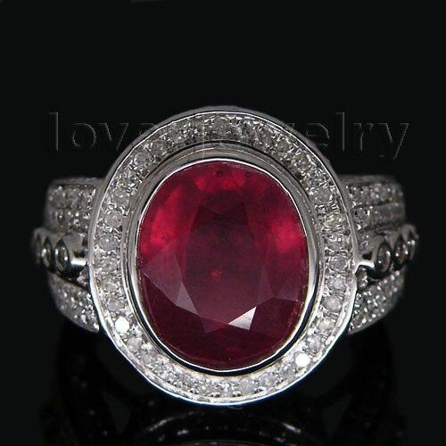 Большой! однотонные 14Kt белого золота кольцо с рубином, настоящий бриллиант Овальный Рубин обручальное кольцо на продажу SR060
