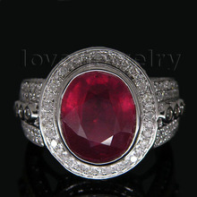 Big Solid 14Kt White Gold Red Ruby Ring Real Diamond Oval Ruby Wedding Ring For Sale