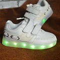 2016 Spring Kids Sneakers Enfant Fashion USB Charginh Luminous Lighted Colorful  LED lights shoes Girls Boy Children  Sneaker