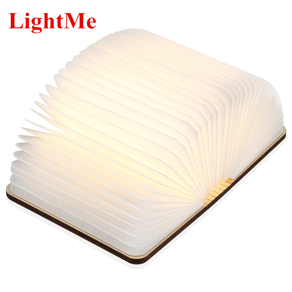 Lightme USB Rechargeable Warm White LED Wooden Folding Mini Book Shape Light Desk Night Lamp for Living Room Christmas Decor icoco usb rechargeable led magnetic foldable wooden book lamp night light desk lamp for christmas gift home decor s m l size