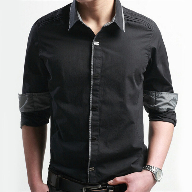 New Tuxedo Men Shirt Cotton Turn-Down Collar Outerdoor Wear For Spring Hiker Mens Plus Size Slim Shirts Pure Color Camisas B002