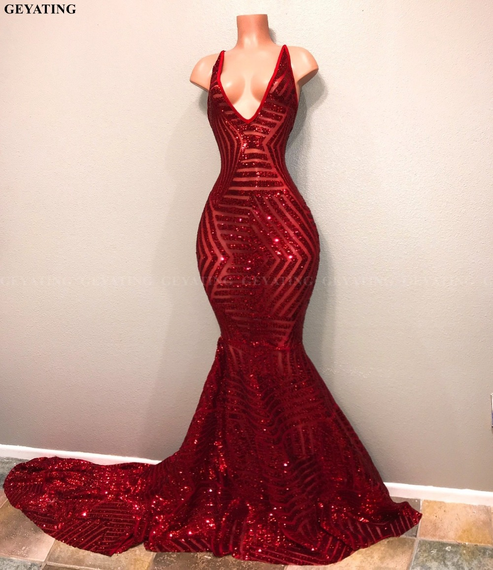 Sexy V Neck Mermaid Sparkly Red Sequin Black Girl Prom -3749