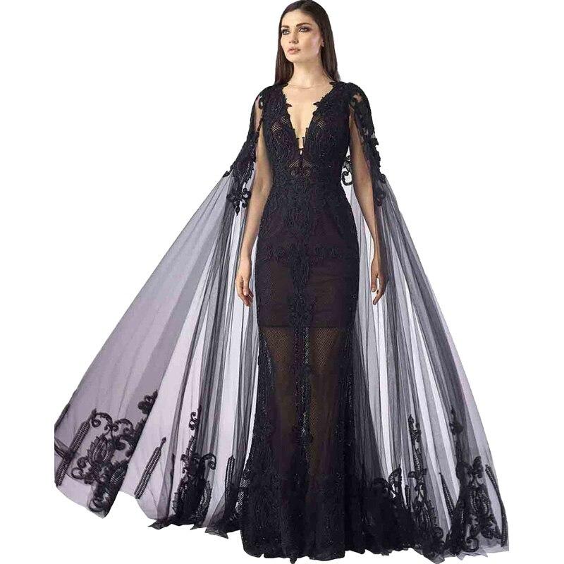 Robe De soirée formelle noire Robe De soirée dubaï Applique Abiye Gece Elbisesi Robe Gala élégante Robe De bal en Tulle