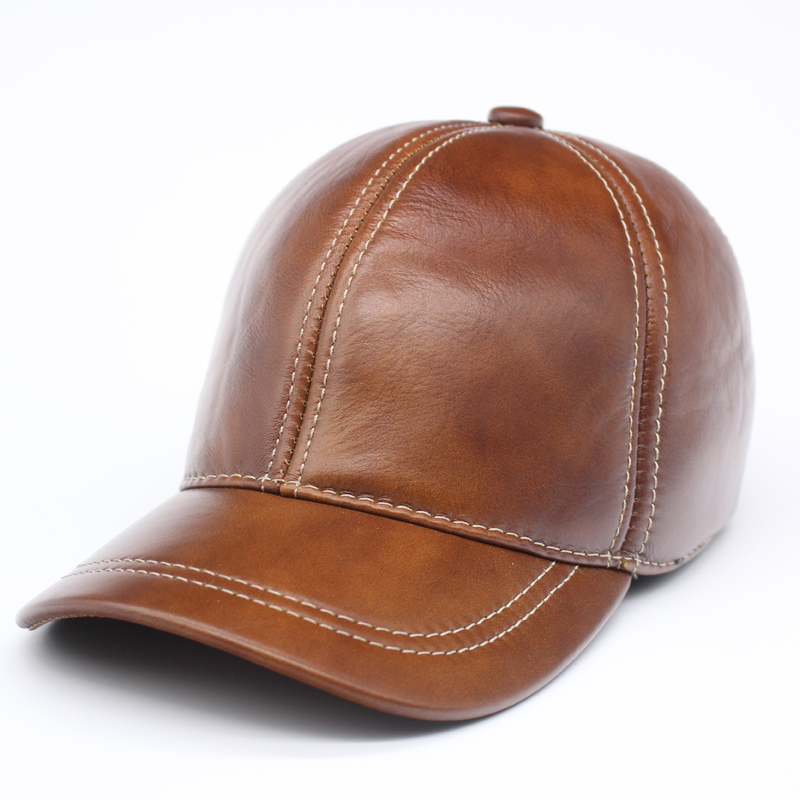 plain brown baseball caps light spring male genuine leather black font cap uk
