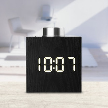 Digital LED Clock Temperature Display Wood Grain Alarm 3 Levels Brightness Electronic Snooze Battery