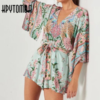 Boho Vintage Peacock Floral Print Kimono Playsuits Women 2018 New Fashion Bandage V Neck Ladies Jumpsuits