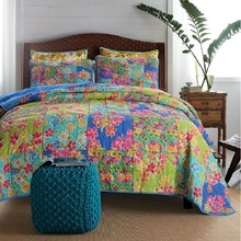 CHAUSUB Summer Handmade Patchwork Quilt Set 3PCS Washed Cotton Quilted Bedspread Printed Bed Cover Soft Pillowcase Coverlet Set