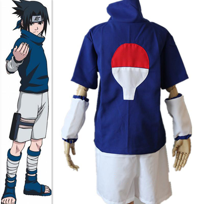Anime Cosplay for Uchiha Sasuke from Naruto Japanese Cartoon Hoodie Set Vestidos Costume for Adult in Halloween Carnival Party