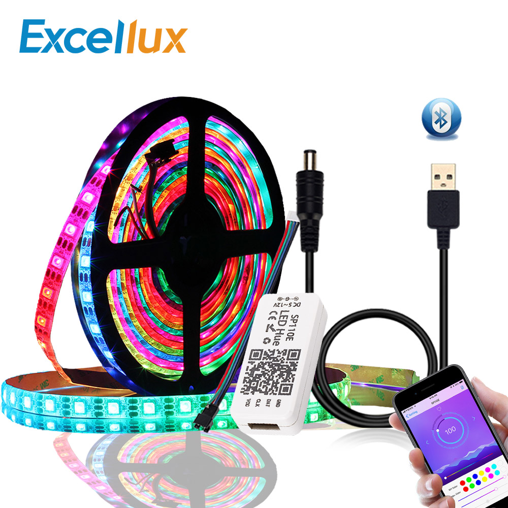 DC 5V WS2812B Bluetooth USB LED Strip 5050 APP Controller RGB Individually Addressable Led Strip Light WS2812 Pixel Strips Set