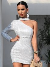 Silver Dress Sexy Party prom Dresses Short  One Shoulder Bodycon Sequin