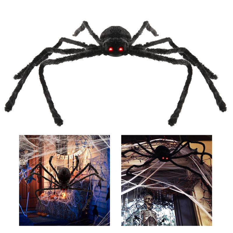Poseable furry spider led sound control giant spider for Robotic halloween decorations