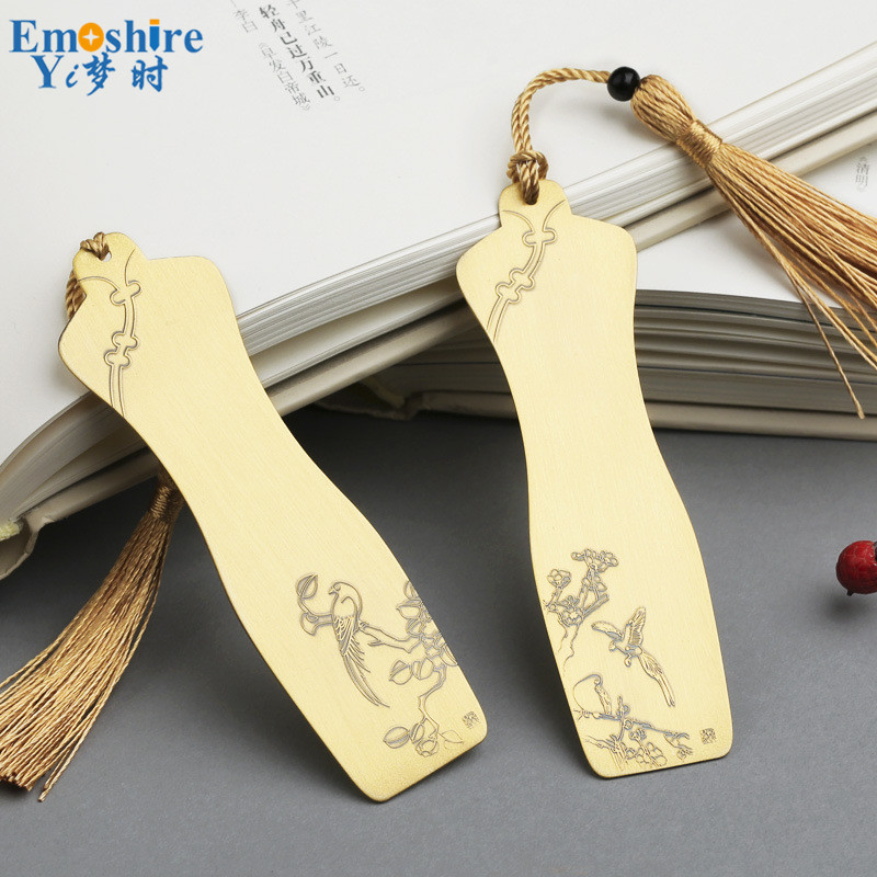 Golden Brass Bookmarks Double Bookmark Metal Classical Cheongsam Bookmarks Creative Embossed Antique Gift Custom Lettering M109 m109