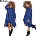 Olrain Women Casual Long Sleeve Turn-down Collar Oversize Loose Plaid Checkered Printed T-shirt Dress