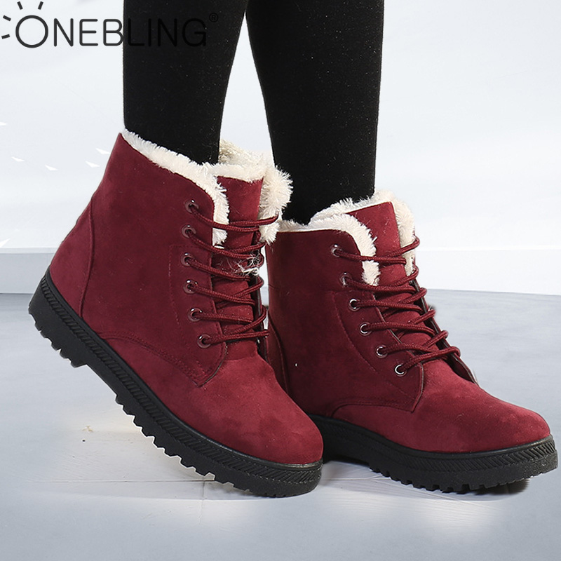 OneBling Platform Flat Martin Boots 2019 Winter Short Plush Warm Fur Lace Up Ankle Boots Women Plus Size Female Snow Booties-in Ankle Boots from Shoes