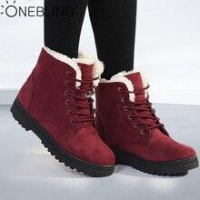 OneBling Platform Flat Martin Boots 2019 Winter Short Plush Warm Fur Lace Up Ankle Boots Women Plus Size Female Snow Booties